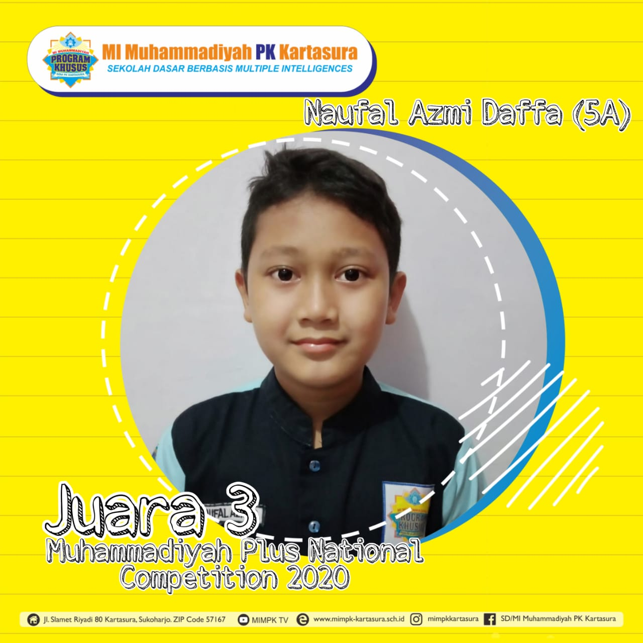 Juara 3 Lomba Muhammadiyah plus cabang Matematika Tingkat nasional 2020